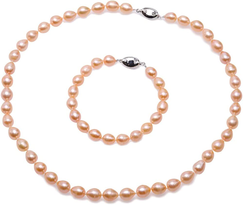 JYX Pearl Necklace Set AA 7-8mm Natural Oval Freshwater Cultured Pearl Necklace and Bracelet Set