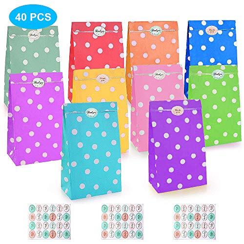 Aixingyun 40 Papiertüten Partytüten Set, Candy Tüten Geschenke Bunt Tüten mit 72 Stickern für Party, Geburtstags, Hochzeit Weihnachten Deko Taschen(10 Farbe)