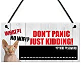 XLD Store Funny Cat Don't Panic WiFi Password Home Internet Hanging Plaque House Gift Chalkboard Sign