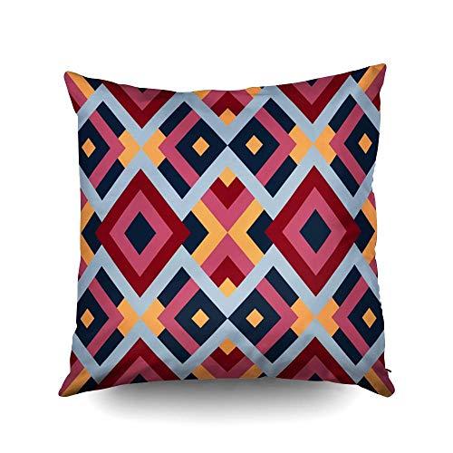 Fundas de almohada cuadradas con diseño geométrico, triángulos, cuadrados, abstractos en rojo, azul, amarillo, pascua, ambos lados, estampado, cremallera, fundas de almohada, decoración de granja, coj