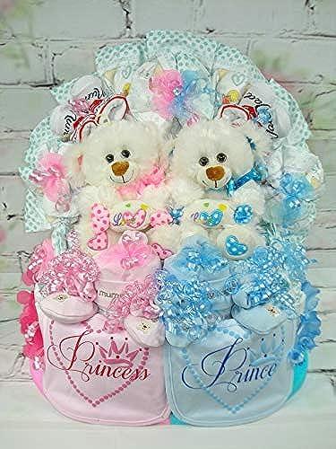 Windeltorte XL Zwillinge Little Prince und Princess mit ZWeiß n