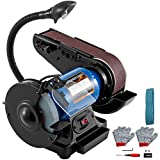 Happybuy 2 IN 1 2inch Belt Grinder for Knife Making 6inch 3450rpm per min Belt and Disc Bench Sander 90 Degree Belt Holder with Sturdy Base and LED Working Lamp