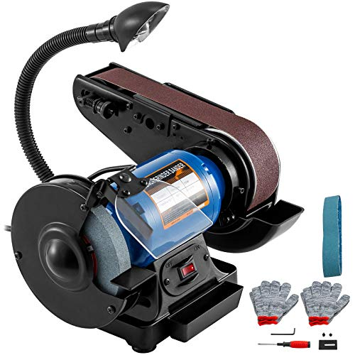 Happybuy 2inch Belt Grinder for Knife Making 6inch 3450rpm per min Belt and Disc Bench Sander 90 Degree Belt Holder with Sturdy Base and LED Working Lamp