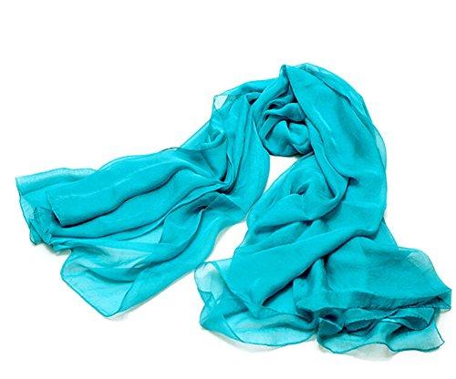 Da. Wa longue écharpe en soie d'été léger crème solaire Plage en mousseline de soie Châles Bleu Bleu