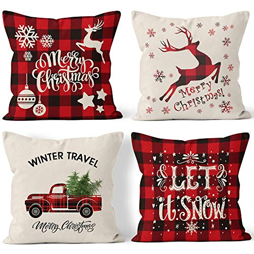 Bieyaaso Christmas Pillow Covers 18x18 Set of 4 for Home Decor Christmas Buffalo Plaid Retro Truck Throw Pillow Cases Cushion Decor Winter Holiday Christmas Farmhouse Decor Pillows Throw Pillow Cover