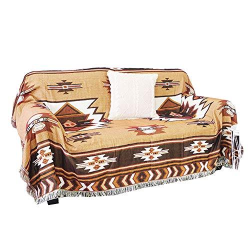XCXDX Bedruckter Sofabezug Im Ethno-Stil, Beidseitiger Wende-Faserüberzug, Handtuch Mit Quaste, Wohnzimmerdekor 160×220cm
