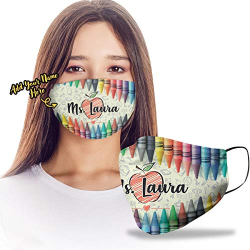 VTH GLOBAL Personalized Custom Teacher Name Crayons Theme Design Print Cloth Reusable Washable Face Mask Double Layer Masks Dust Protection for Men Women