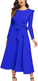 OLUOLIN Women's Long Sleeve Round Neck Ruffle Trim Belted Dress Swing Work Cocktail Party Dresses