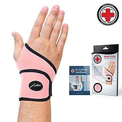 Doctor Developed Premium Ladies Pink Wrist Support/Wrist Strap/Wrist Brace/Hand Support [Single]& Doctor Written Handbook— Suitable for Both Right and Left Hands (Pink)