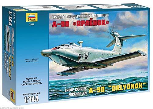"Zvezda 7016 - Troop Carrier Ekranoplan A-90 Orlyonok - Plastic Model Kit - Scale 1/144 38 Details Lenght 15.75"" 1"
