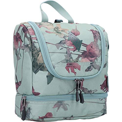Travel Kit stylische Reisewaschtasche mit extra Bodenfach Kulturbeutel zum Aufhängen Kosmetiktasche mit vielen Staufächern für Reisen und Campen Toiletry Bag, 25x24x11 cm, Dead Flower