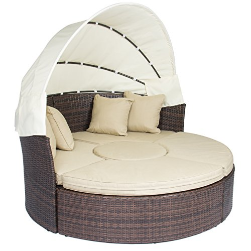 Best Choice Products Retractable Canopy Wicker Daybed for Outdoor - Beige