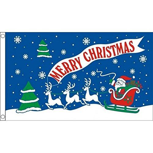 3 m x 2 m (90 x 60 cm) de Noël Inscription Merry Christmas Père Noël 100% Polyester-Bleu-Drapeau bannière Tissu idéale pour Festival bar Club l'activité de décoration Fête