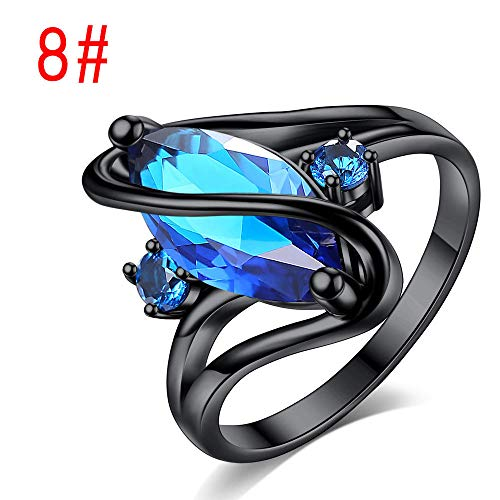 SARUI Ringe für Damen Anti-Allergie und Rostschutz Anlaufbeständig und verfärbt Sich Nicht so leicht Horse Eye Ring Schwarzgold Ring Cross Border Multicolor Optional Schwarzgold Saphir 8#