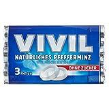 Vivil Natürliches Pfefferminz ohne Zucker, 3 Rollen, 3 x 28g