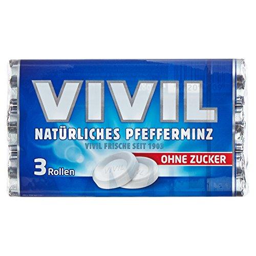 Vivil Natürliches Pfefferminz ohne Zucker, 3 x 28g