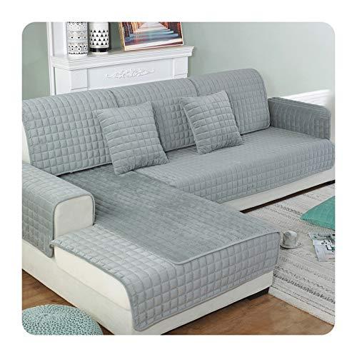 ZaHome Funda para sofá de tela de terciopelo de cristal grueso, antideslizante, para decoración de salón, color gris, 90 x 210 cm
