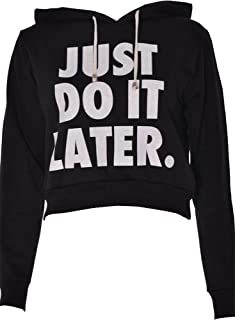 Forever Womens Long Sleeves Just Do It Later Print Fleece Hoodie Crop Top