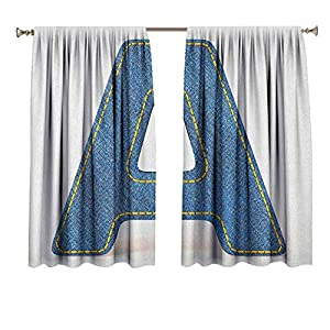 Letter A 2 Window Curtain Panels Blue Colored Uppercase A with Jeans Fabric Textile Theme and Stitches Image Print Noise Reducing Thermal Insulated Blackout Window Drapes