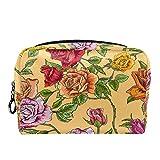TIZORAX Make-up-Tasche mit Blumenmuster, Kulturbeutel für Damen, Hautpflege, Kosmetik, Handtasche mit Reißverschluss