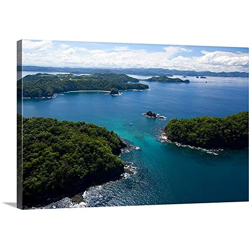 "GREATBIGCANVAS Gallery-Wrapped Canvas Island in Pacific Ocean, Four Season Resort, Papagayo Bay by 48""x32"""