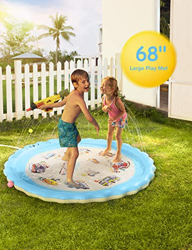 Sable Splash Pad, Sprinkler for Kids, 68 Inches Wading Pool for Learning, Water-Filled Play Mat Sprinkler Pool, Inflatable Water Toys, Large Outdoor Swimming Pool for Babies, Toddlers