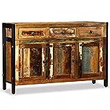 Festnight Aparador Buffet Salón Comedor de Estilo Antiguo con 3 Compartimentos y 3 CajonesReciclada Maciza 120x35x76cm