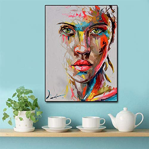 HGlSG Abstract Mes Portret Olieverf Modern Big Size Canvas Wall Art Gedrukt Canvas Posters Prints ping woonkamer Cuadros Decor A3 60x90cm