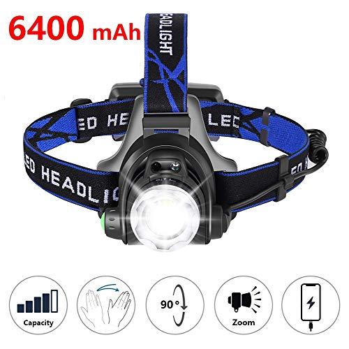 DOOK Led-hoofdlamp, met sensorfunctie, USB-aansluiting, waterdicht, oplaadbaar, 4 helderheden, 90 graden verstelbaar, verstelbare band en USB-kabel, focus verstelbaar