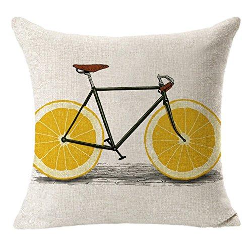 Nvfshreu Kissenbezug Leinen Mit Schnittmuster Fahrräder Und Obst Für Inneneinrichtung 45 Einfacher Stil * 45 cm 45 * 45Cm Design 1 (Color : Design 2, Size : Size)