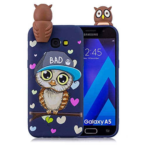 WuBao Cute Case for Samsung Galaxy A3 (2017) / A320 Cover Silicone 3D Panda Unicorn for Girls Woman Boys, Soft Gel Shockproof Protective Cover Slim Backcover Thin Rubber Shell - Blue owl