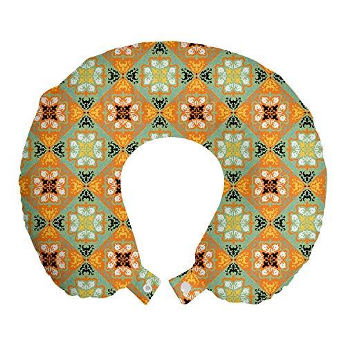 ABAKUHAUS Mexicano Cojín de Viaje para Soporte de Cuello, Tonos Vibrantes Arte Talavera, Cómoda y Práctica Funda Removible Lavable, 30x30 cm, Naranja Verde Pistacho
