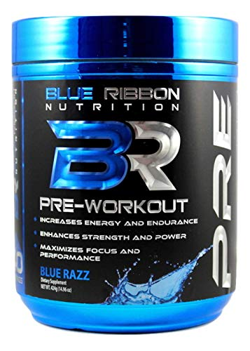 Blue Ribbon Nutrition PRE, Pre-Workout Supplement - Energy, Strength, Endurance, Focus, Nitric Oxide with Caffeine and Nootropics: Blue Razz - 40 Servings