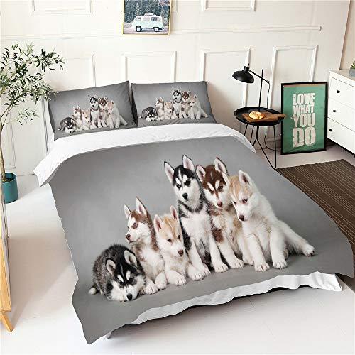 Enhome Bettwäsche Set 3 Teilig, Bettbezug Set Mit 3D Süßes Haustier Bettwaren, Weiche Flauschige 1*Bettbezug und 2 * 50x75cm Kissenbezug Bettwaren (135x200cm,Grauer Husky)