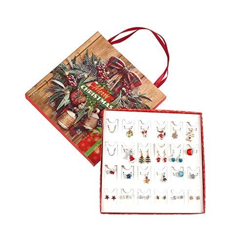 Yanni Weihnachts-Ohrstecker, Ohrringe, baumelnder Haken, Halskette, Countdown, Adventskalender, Schmuck-Set, für Frauen und Mädchen, Charms-Geschenk