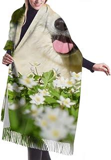 Wrap Shawl Scarves Bufanda Fringe Womens Winter Scarf Cashmere Feel Akita Inu Enjoy Spring Scarves Stylish Shawl Wraps Soft Warm Blanket Scarves For Women