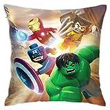 Superheroes-Marvel - Fundas de almohada cuadradas de pellets suaves y decorativas, transpirables, elegantes fundas de cojín para sofá dormitorio, 45,7 x 45,7 cm