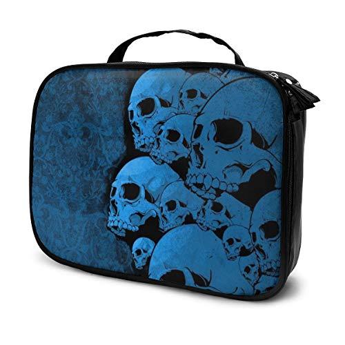 Trousses à maquillage pour les voyages des femmes, Étui à crayons Skull Blue And Black
