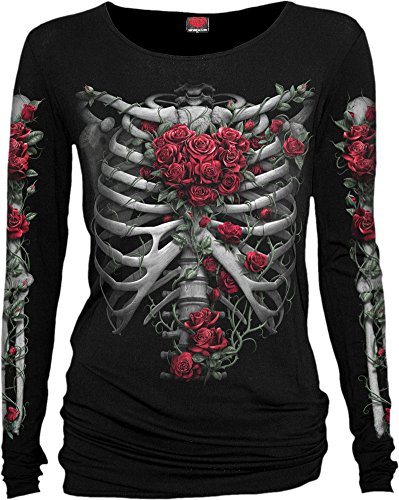 Spiral Direct Damen Rose Bones - Baggy Top Black Langarmshirt, Schwarz 001, 50 (Herstellergröße: XX-Large)