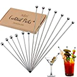Cocktail Martini Picks and Stirrers Toothpicks – (12 Pack / 4 & 8 Inch) Reusable Cocktail Picks - Stainless Steel Metal Drink Skewers Sticks for Martini Olives Appetizers Bloody Mary Fruits