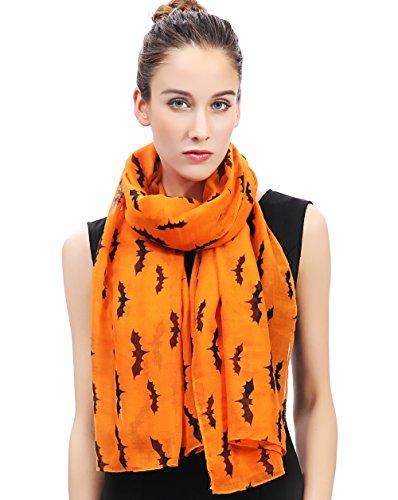 Lina & Lily Damen Schal Tuch Halloween Muster mit Fledermäuse (Orange)