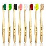 Cepillo de Dientes de Bambú, Cepillo de Dientes de Madera Natural Respetuoso Con el Medio Ambiente, Cepillo de Dientes de Carbón de Bambú Orgánico Vegano Para Encías Sensibles, Juego de 8 Colores