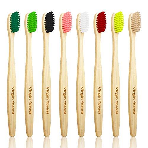 Bambus Zahnbürsten, Natürliches Holzzahnbürste, Mittel Weichen Borsten Umweltfreundliches Zahnbürste, Bambus-Kohlefaser-Borsten, Plastikfrei, BPA Frei, Bioabbaubare (8 Stück )