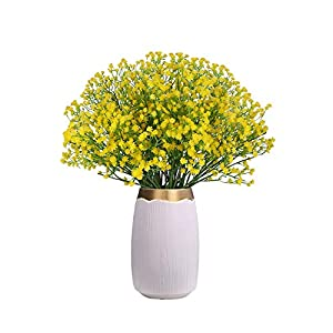 Silk Flower Arrangements CHAMER 16 Pcs Baby Breath Artificial Flowers Fake Gypsophila Bouquets Fake Real Touch Flowers for Wedding Party Home Decoration(Yellow)