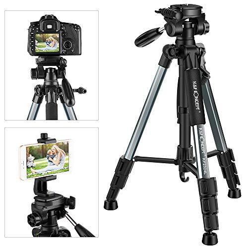 K&F Concept Leichtes Kamera Stativ mit Handyhalterung, 142cm Fotostativ Handy Stativ für Smartphone iPhone Samsung DSLR SLR Canon Nikon Sony Olympus