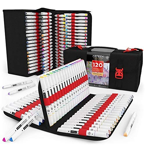 Arteza Everblend Art Markers, Set of 120 Colors, Alcohol Based Sketch Markers, Dual Tips (Fine and Broad Chisel) Art Supplies for Painting, Sketching and Drawing Include Organizer Case with 72 Slots
