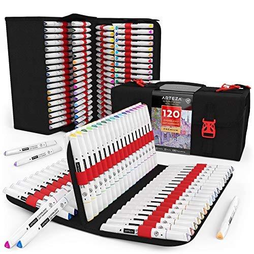 Arteza EverBlend Set de rotuladores de arte de doble punta (fina y biselada)   120 colores vivos   Incluye un práctico maletín   Rotuladores de alcohol para mezclas y capas