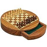 HJHJ ajedrez Creativo Conjunto De Ajedrez Magnético Conjunto De Ajedrez De Madera Tablero De Ajedrez De Forma Redonda con Cajones De Almacenamiento Regalos de ajedrez (Color : Small Chess Set)