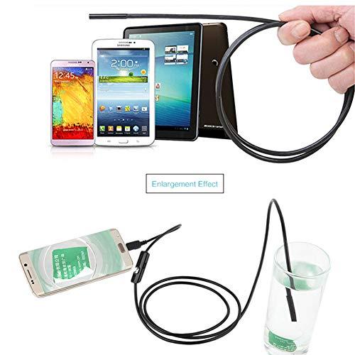 Cocoarm Endoskop IP67 Wasserdichtes Endoskopkamera 7mm Digital Inspektionskamera Flexible Video Boreskop mit 6 LED Licht für Android Smartphone, Tablette, PC (1.5m)