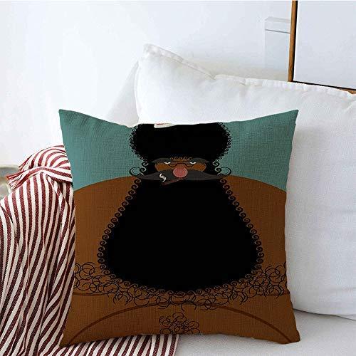 N\A Cojín Decorativo Fundas cuadradas Maduro Claus Celebración de Navidad Africana Negro Feliz Sombrero de Pecho Desnudo Personas Vacaciones Persona Año Cojín de Lino Funda de Almohada para sofá Cama